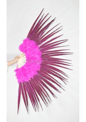 "Hot pink Marabou and Pheasant  Feather Fan Burlesque Dance 29""x 53""  with Gift Box"