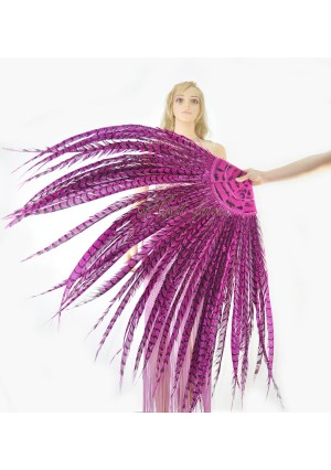 """Hot pink Luxury 71"""" Tall huge Pheasant Feather Fan  Burlesque Perform Friend"""