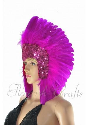 hotpink feather sequins crown las vegas dancer showgirl headgear headdress