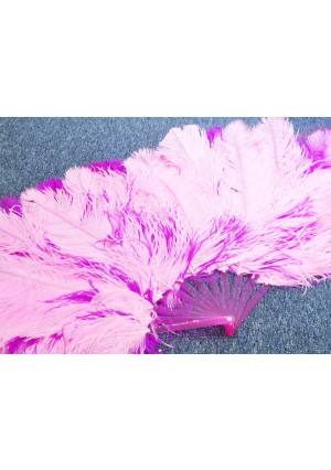 "hotpink & pink Double side Ostrich Feather fan more bushy 48"" with gift box"
