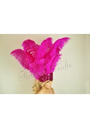 hot pink Sharp Angle Ostrich Feathers Open Face  Headgear Headdress