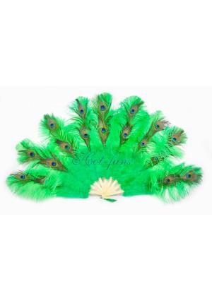"emerald green Peacock Marabou Ostrich Feathers Fan 24""x 43"" wedding & Burlesque fan"
