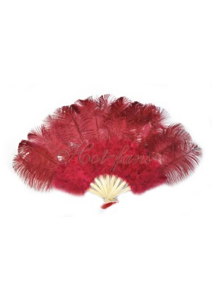 """Burgundy Marabou Ostrich Feather fan primary Burlesque Dance 21""""x38"""" with gift box"""