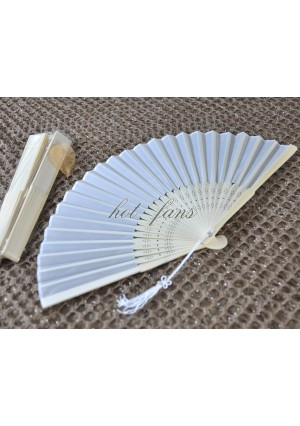 lot of 10 Ivory lady plain silk hand fans in Organza Gift bag wedding party