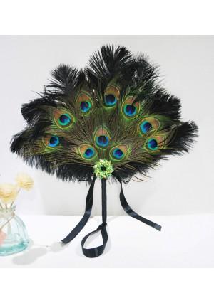 Black Bridal Bouquet Peacock & Ostrich Feathers Bridesmaid Fan wedding favors