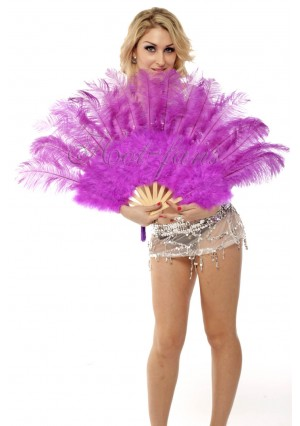 """lavender Marabou Ostrich Feather fan primary Burlesque Dance 21""""x38"""" with gift box"""