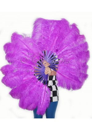"""A pair lavender Single layer Ostrich Feather fan 24""""x41"""" burlesque dancer with gift box"""