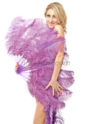 """lavender single layer Ostrich Feather Fan Burlesque friend 25""""x45"""" with gift box"""