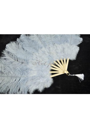 """Light gray Marabou Ostrich Feather fan primary Burlesque Dance 21""""x38"""" with gift box"""