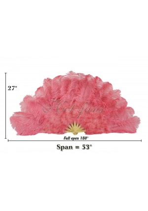 """Coral red Ostrich & Marabou Feathers fan Burlesque dance with carrying case 27""""x 53"""""""
