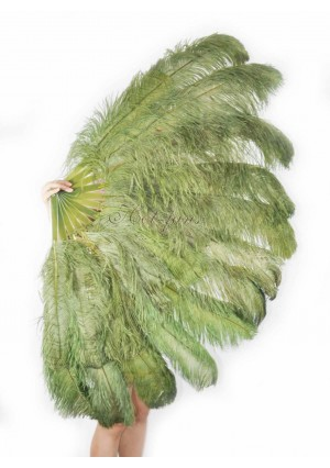 "olive green XL 2 layers Ostrich Feather Fan Burlesque dancer friends 34""x 60"" with gift box"