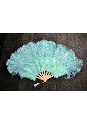 "Mint Green Marabou Ostrich Feather fan primary Burlesque Dance 21""x38"" with gift box"