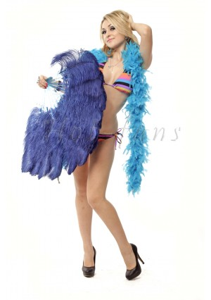 "Navy single layer Ostrich Feather Fan Burlesque friend 25""x45"" with gift box"
