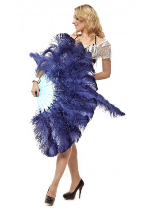 """navy 2 layers Ostrich Feather Fan Burlesque dancer friends 30""""x 54""""  with gift box"""