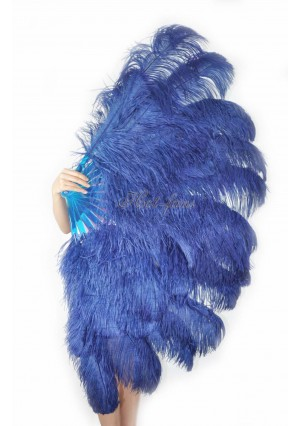 "navy XL 2 layers Ostrich Feather Fan Burlesque dancer friends 34""x 60"" with gift box"
