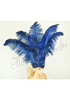 navy Sharp Angle Ostrich Feathers Open Face  Headgear Headdress