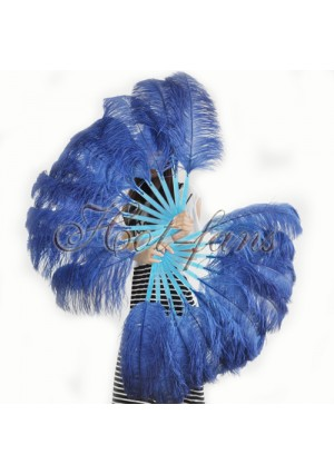 "A pair navy Single layer Ostrich Feather fan 24""x41"" burlesque dancer with gift box"