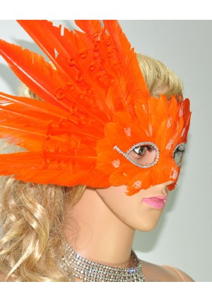 Orange MardiGras Masquerade Feather Eye Mask