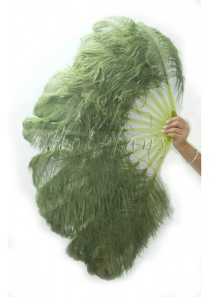 "olive single layer Ostrich Feather Fan Burlesque friend 25""x45"" with gift box"
