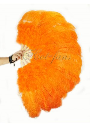 "orange Ostrich & Marabou Feathers fan Burlesque dance with carrying case 27""x 53"""