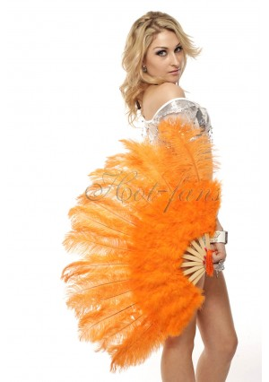 "orange Marabou Ostrich Feather fan primary Burlesque Dance 21""x38"" with gift box"