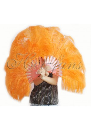 """A pair orange Single layer Ostrich Feather fan 24""""x41"""" burlesque dancer with gift box"""