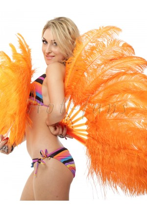 "orange single layer Ostrich Feather Fan Burlesque friend 25""x45"" with gift box"