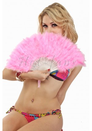 PINK petite Marabou feather fan costumes Ladies Fancy Dress Wedding party 20""