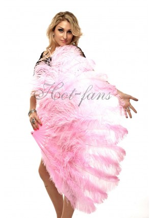 """pink 2 layers Ostrich Feather Fan Burlesque dancer friends 30""""x 54""""  with gift box"""