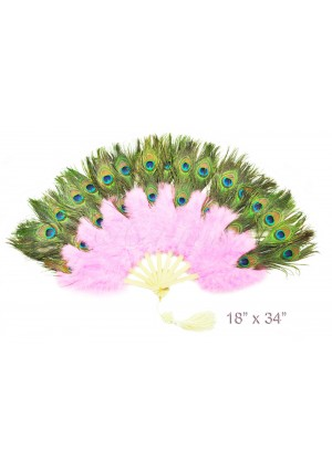 pink Double faced Peacock Eye Marabou Feather Fan