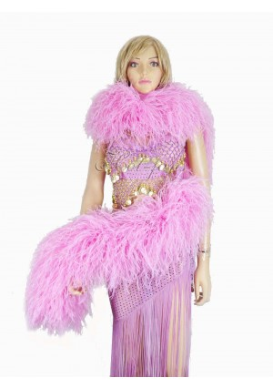 "Pink 20 plys full and fluffy Luxury Ostrich Feather Boa 71""long (180 cm)"