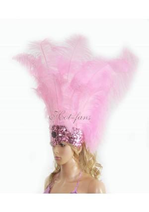 pink Sharp Angle Ostrich Feathers Open Face  Headgear Headdress
