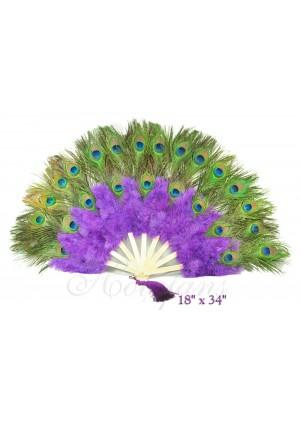purple Double faced Peacock Eye Marabou Feather Fan