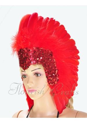 red feather sequins crown las vegas dancer showgirl headgear headdress