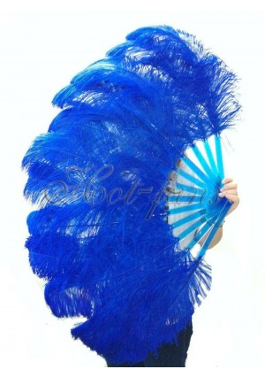 """Royal blue single layer Ostrich Feather Fan Burlesque friend 25""""x45"""" with gift box"""
