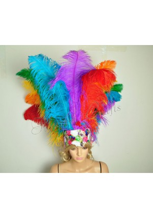 Rainbow Sharp Angle Ostrich Feathers Open Face  Headgear Headdress