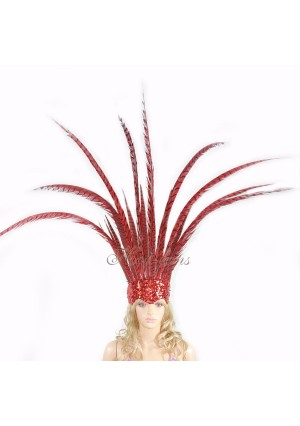Red Open Face Pheasant Feathers Headdress headgear with Sequins crown