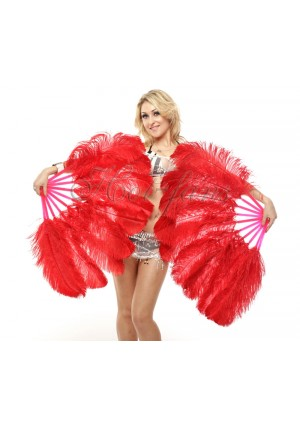 "A pair red Single layer Ostrich Feather fan 24""x41"" burlesque dancer with gift box"