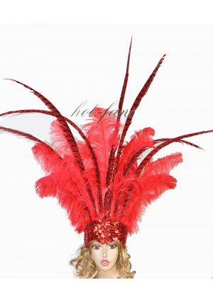 Red Ostrich & Pheasant Feathers Sequins crown Open Face Headdress Show girl