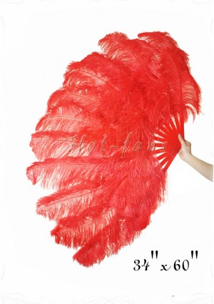 "Red XL 2 layers Ostrich Feather Fan Burlesque dancer friends 34""x 60"" with gift box"