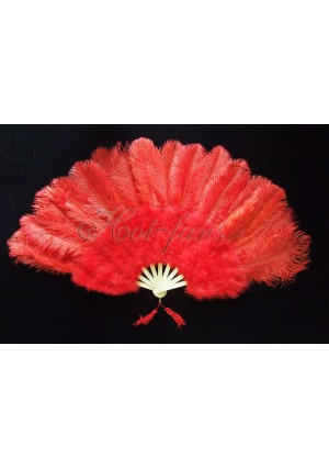 "Red Marabou Ostrich Feather fan primary Burlesque Dance 21""x38"" with gift box"