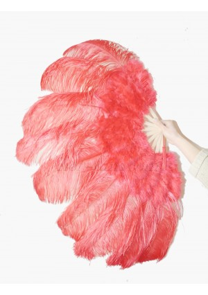 "Red Ostrich & Marabou Feathers fan Burlesque dance with carrying case 24""x43"""