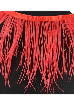 """Ostrich Feather Fringe (182 cm ) 2 yard trim 5""""-6"""" (13cm-15cm) in Red Color"""