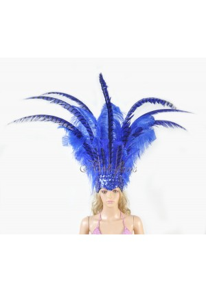 royal blue Ostrich & Pheasant Feathers Sequins crown Open Face Headdress Show girl