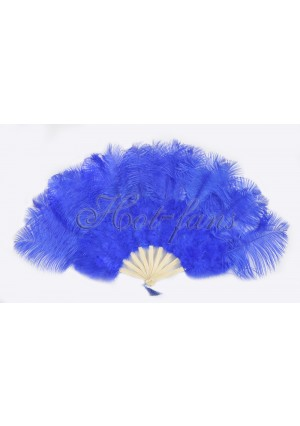 "royal blue Marabou Ostrich Feather fan primary Burlesque Dance 21""x38"" with gift box"