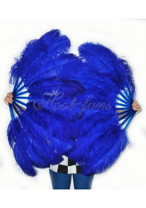 "A pair royal blue Single layer Ostrich Feather fan 24""x41"" burlesque dancer with gift box"
