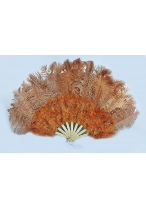 "Topaz Marabou Ostrich Feather fan primary Burlesque Dance 21""x38"" with gift box"