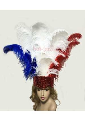 Mix color USA flag Sharp Angle Ostrich Feathers Open Face  Headgear Headdress
