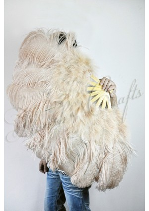 "beige camel Ostrich & Marabou Feathers fan Burlesque dance with carrying case 24""x43"""