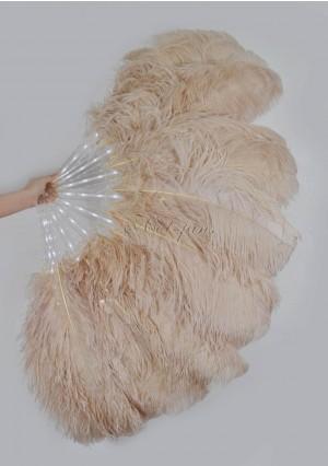 "Beige Camel Glittery LED Shine Bushy Double Ostrich Feather Fans Burlesque 28""x 53"""